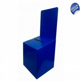 blue cardboard ballot box
