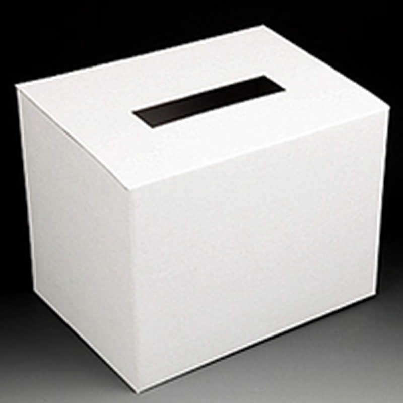 cardboard desk top ballot box