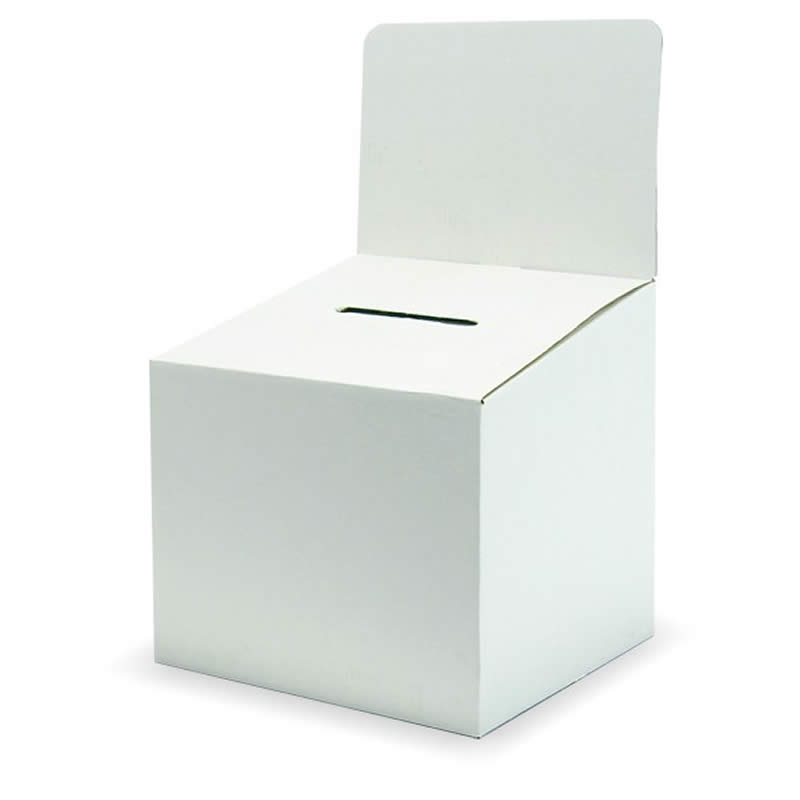 large cardboard ballot box with header bal6