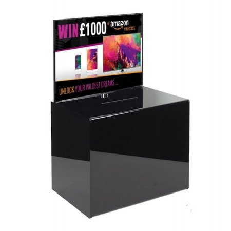 black lockable suggestion box with display header 6