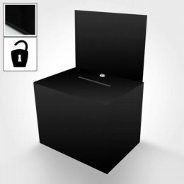 black lockable suggestion box with literature holder