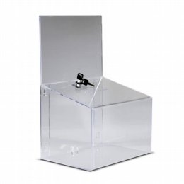 clear acrylic suggestion or ballot box with header