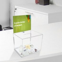 large clear acrylic ballot box with display header 5