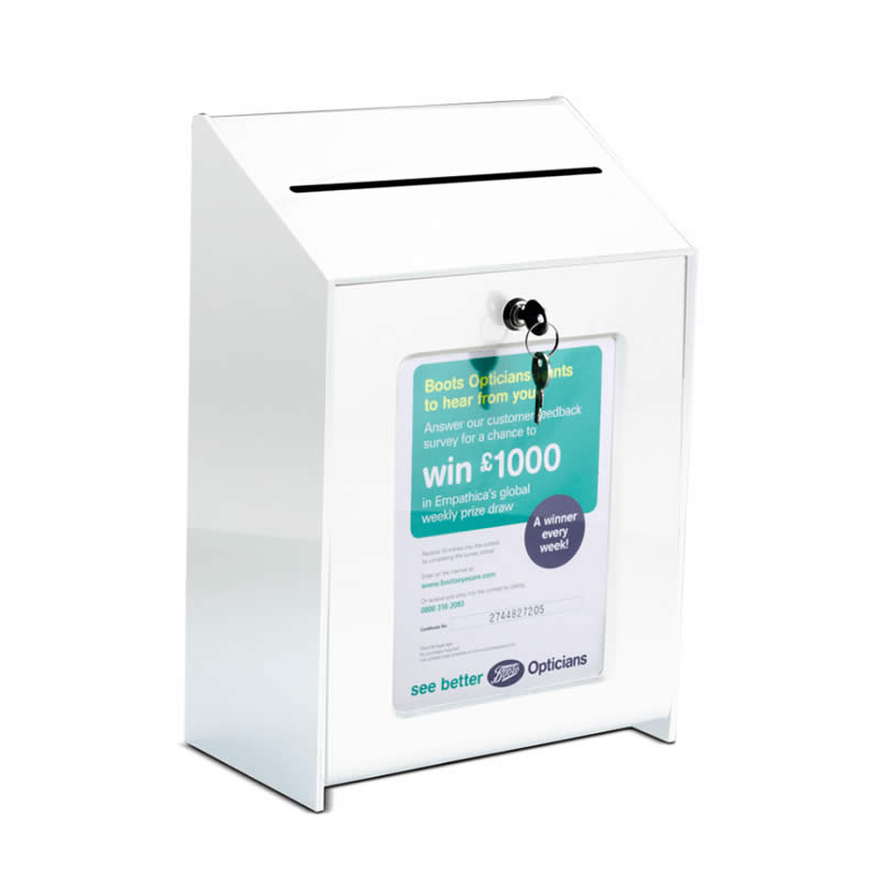 Lockable Suggestion Ballot Box White Acrylic