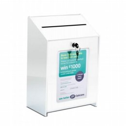 lockable suggestion ballot box grey or white acrylic
