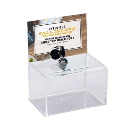 small clear acrylic lockable ballot box with display header