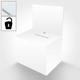 square white ballot box with lock and header