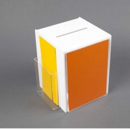 white acrylic suggestion box with a5 message holder