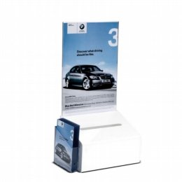 white acylic suggestion box a5 header and leaflet pocket