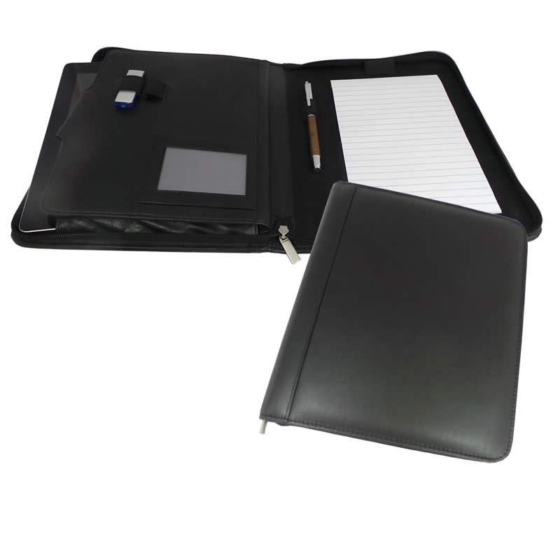 a5 zipped leather conference folder for laptops