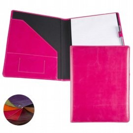coloured leather a4 conference folder pink