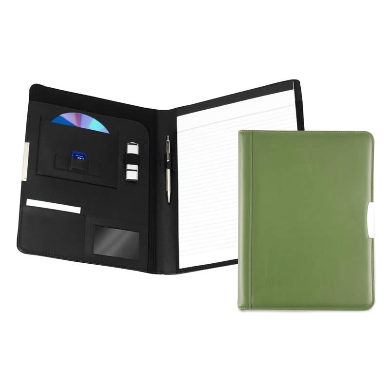 leather a4 pad holder avocado green