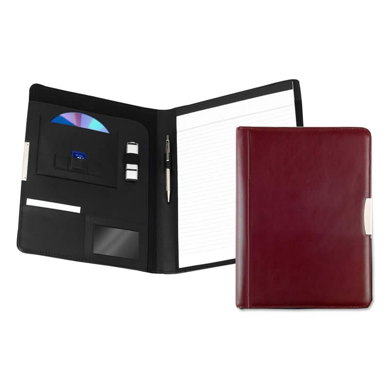 leather a4 pad holder burgundy
