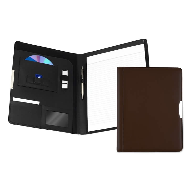 leather a4 pad holder dark brown