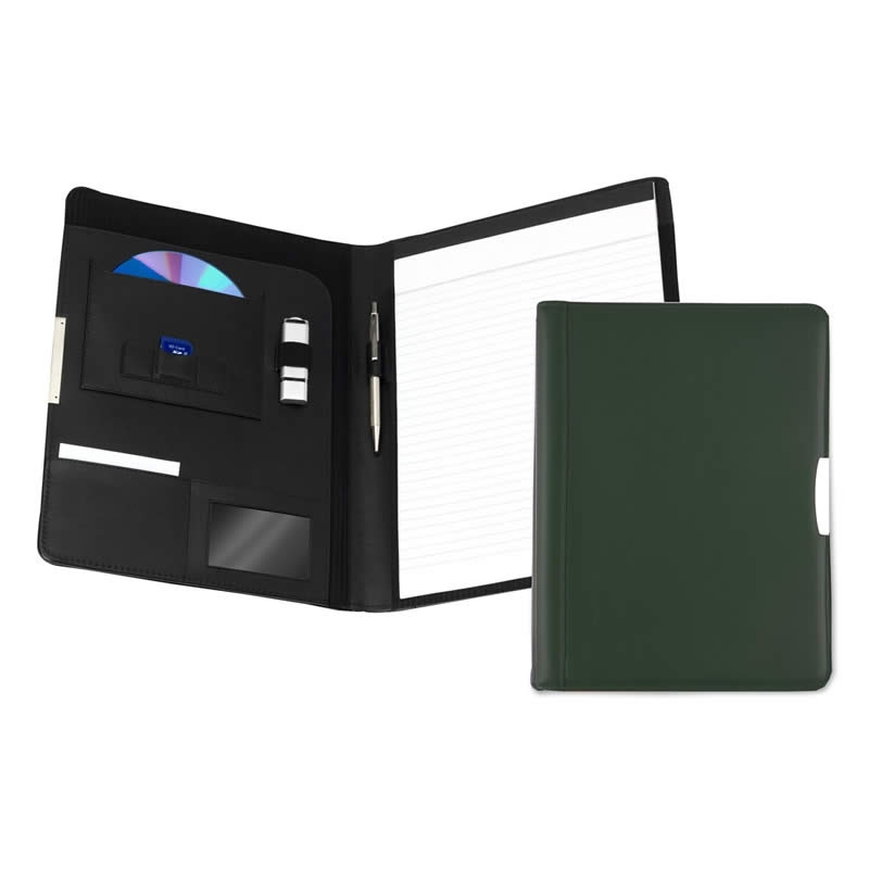 leather a4 pad holder dark green