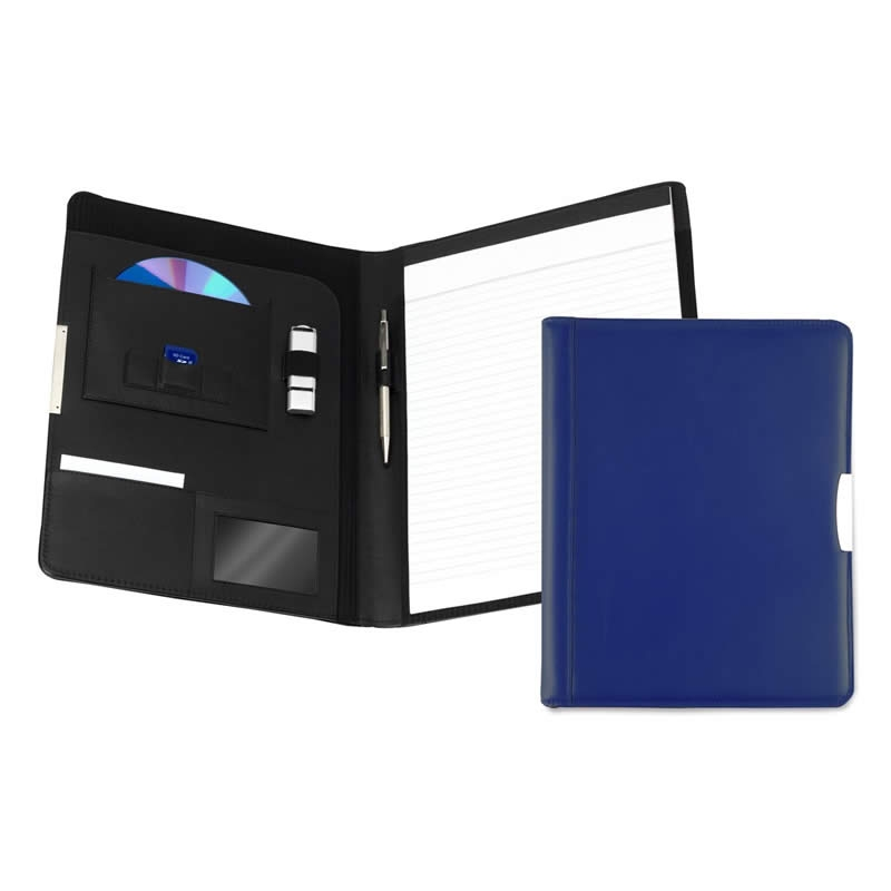 leather a4 pad holder mid blue