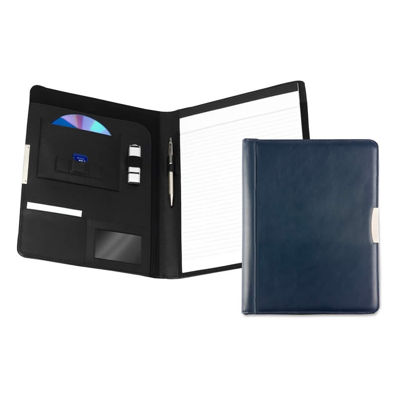 leather a4 pad holder navy blue