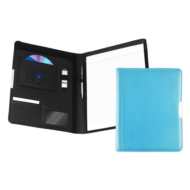 leather a4 pad holder sky blue