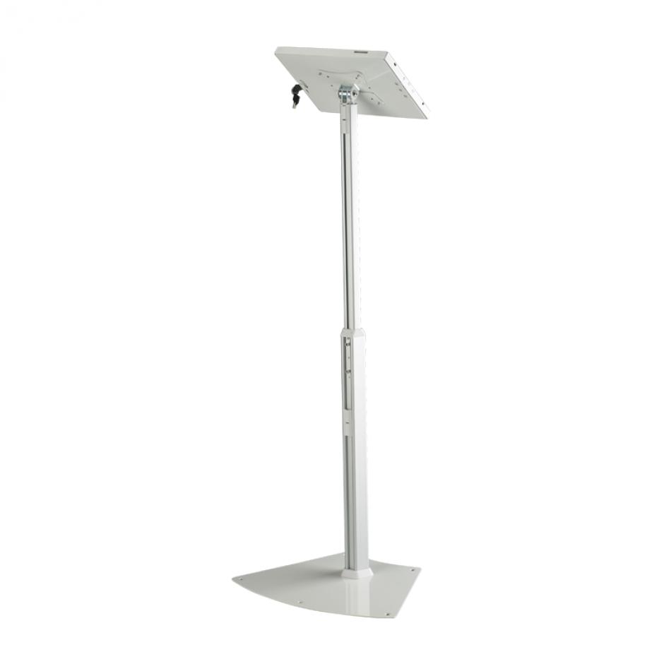 Floor Standing Tablet Holder | fixed height, white frame